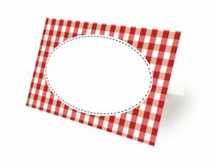 Red Gingham Picnic BBQ Theme Tent Card Placeholders (12-Pack)