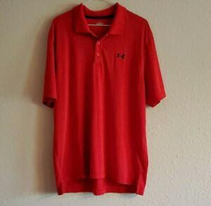 Men's Under Armour Short Sleeve Golf Polo Shirt Red size Large EUC $14.95
