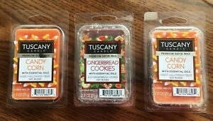 3 TUSCANY CANDLE Satin Soy Blend Wax Melts CANDY CORN amp; GINGERBREAD COOKIES Lot