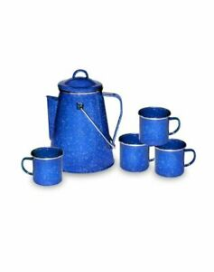 NEW IN SEALED BOX Stansport Enamel Percolator Coffee Pot and Set of 4 Mugs 11230
