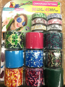 Parrot Tape Duct Tape Glitter Tape Combo Pack 15ct Camouflage Patterns New