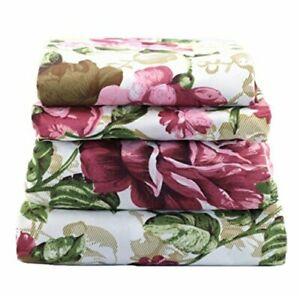 4 Pcs Floral Sheet Set Flat/Fitted/Pillowcases Large Pink Rose