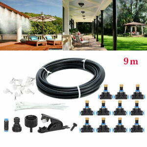 30FT Outdoor Patio Water Mister Mist Nozzles Misting Cooling System Fan Cooler