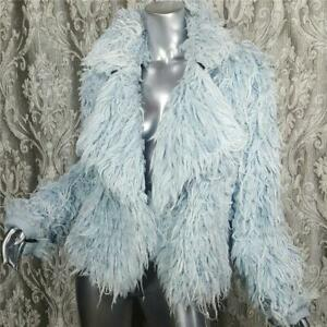 NWT~$798~KSENIA SCHNAIDER~SZ ML~BLUE DENIM FAUX FUR FRINGE JEAN JACKET COAT