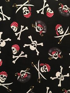 Cotton Pirate Skull And Crossbones Fabric By The Half yard