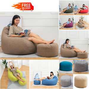 Large Bean Bag Chair Sofa Couch Cover Indoor Outdoor Lazy Lounger Pedal cover US