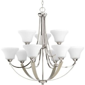 Progress Lighting P400013 104 Noma Nine Light 2 Tier Chandelier Polished