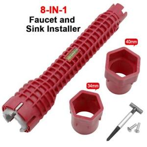 8in1 Faucet Pipe Installer Wrench Sink Anti Slip Handle Double Head High Quality $16.00