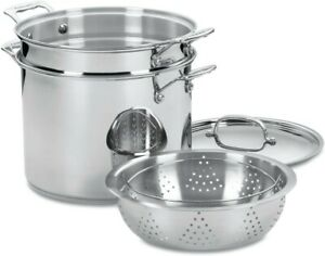 Classic Stainless Steel 4-Piece 12-Quart Pasta Steamer Set with Cool Grip Handle