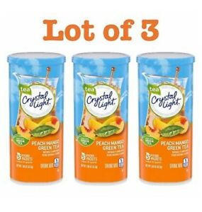 3 Pack Crystal Light Peach Mango Green Tea Drink Mix 10 Quart Canister $16.95