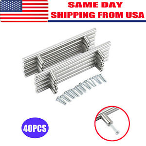 40PC Brushed Stainless Steel Kitchen Cabinet Door Handle T Bar Drawer Pull Knobs