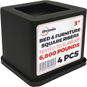 iPrimio Bed and Furniture Square Risers 4 Pack 3 INCH Size Wont Crack 0 Scra