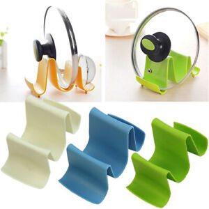 Kitchen Wave Plastic Pot Pan Cover Lid Shell Rack Ladle Spoon Stand Holder Safe
