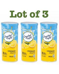 3 Pack Crystal Light Lemonade Drink Mix 12 Quart Canister $16.95