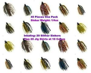 Wtrees Best Fishing Bass Jigs Kit Set Bulk 40 of Pack Slither Sinkers with