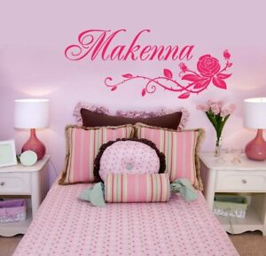 Rose and Name Wall Sticker Personalized Vinyl Wall Decal Girl#x27;s Bedroom One Name