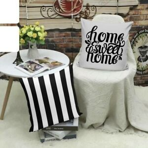 2PCs Decorative Pillow Throw Cushion Covers Black and White Striped 18x18 Home