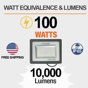 Super Bright LED Flood Light Cool White Outdoor Garage Warehouse Retail Store US