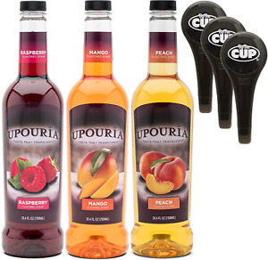 coffee syrup Upouria Raspberry Mango and Peach Flavoring Variety 750 mL Bottle $46.77
