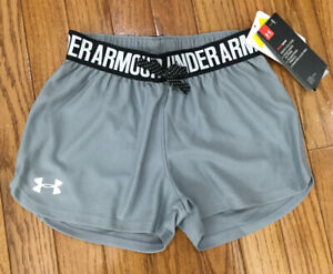 New Under Armour Gray Play Up Running Work Out Shorts Loose Fit Sz Girls XS U24 $11.95