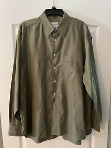 Lorenzini Mens Designer Long Sleeve Button Up Shirt Green Size L 17 1 2 44
