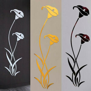 US Mirror Flower Art Removable Wall Sticker Acrylic Mural Decal Home Room Decor $8.36
