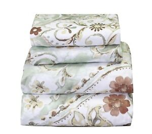 4 Pcs Floral Sheet Set Flat Fitted Pillowcases Green Brown Floral