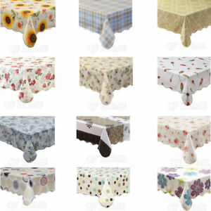 Waterproof Vinyl Tablecloth with Flannel Backed Rectangle Oblong 16 Patterns $17.99