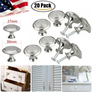20Pcs Stainless Steel Knobs Handles Drawer Kitchen Cupboard Round Cabinet Pulls