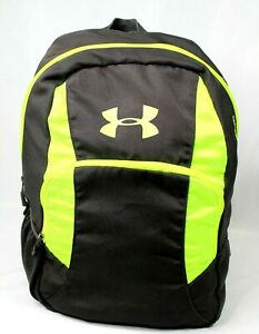 Under Armour Backpack Black Neon Green 4 Zippered Pockets Bottle Padded Straps $20.00