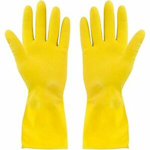 6 Pairs Natural Rubber Gloves Long Sleeve Yellow Cleaning Gloves Medium
