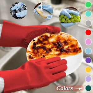1 Pair Magic Silicone Dishwashing Gloves For Kitchen Cleaning