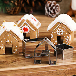 3Pcs Christmas Gingerbread House Biscuit Cutter Cookie Pastry Mold Tool $5.16