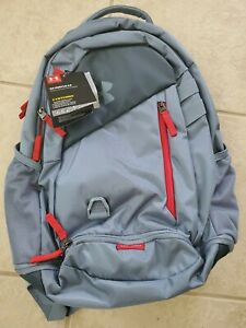NEW Under Armour Storm UA Hustle 4.0 Water Repellant Grey & Red Backpack $34.69