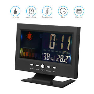 Digital Display Thermometer Humidity Clock Colorful LCD Calendar Weather Alarm