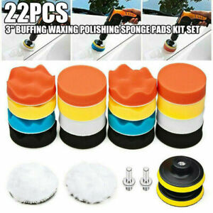 22PCS 3 Inch Polishing Pad Sponge Buff Buffing Kit Set Fit For Car Polisher US