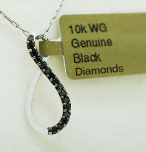 GENUINE BLACK DIAMOND PENDANT NECKLACE 10K WHITE GOLD * Free Appraisal *