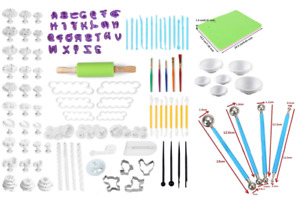 Fondant Tools with Rolling Pin,Smoother, Embosser Mold Sets more than 130 pcs
