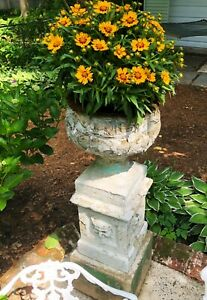 PAIR Antique Urns with Faces. Nearly 4feet tall. Victorian garden planters $690.00