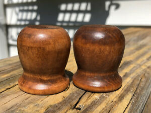"""2 Vintage Turned Wood 1.5"""" Finial Cap Flag Pole crafts Foot Furniture Piece"""