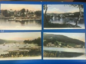BOWNESS LAKE WINDERMERE: NICE LOT OF 12 x EARLY ABRAHAM COLOURED POSTCARDS GBP 17.33