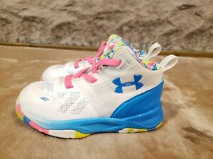 Under Armour Curry White Blue pink shoes TODDLER BOYS GIRLS SZ 5 K EXCELLENT! $18.95