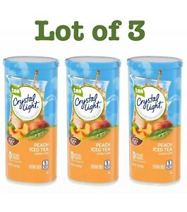 LOT OF 3 CRYSTAL LIGHT PEACH Iced Tea Drink Mix 1 Lot make 12 Quart $16.95