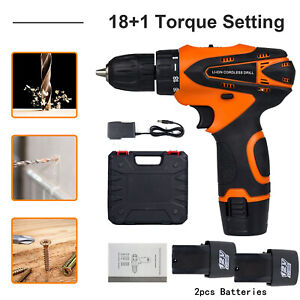 "12V Cordless Drill Electric Screwdriver 3/8""Mini Wireless Power Driver+2 Battery"