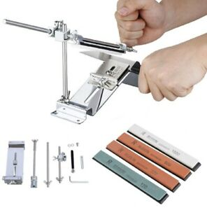 Knife Sharpener Professional Kitchen Sharpening Set System Fix Angle 4 Whetstone