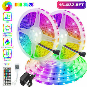 32FT Flexible 3528 RGB LED SMD Strip Light Remote Fairy Lights Room TV Party Bar $21.99