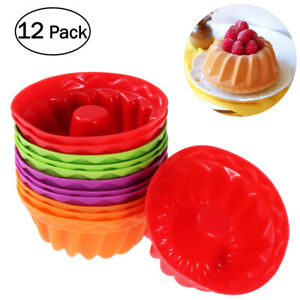 12X Silicone Cupcake Liners Baking Cups Mold Dessert Muffin Cake Mould Tool