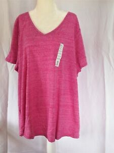 Sonoma Women's Plus Everyday Tee, V Neck, SS, Size 3X or 4X