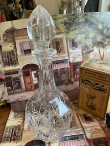 Vintage Heavy Cut Lead Crystal Cordial Carafe Wine Decanter W Crystal Stopper13