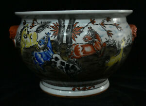 14 Collect Chinese Porcelain Beast Head Horse Incense Burner Censer Bowl Crock